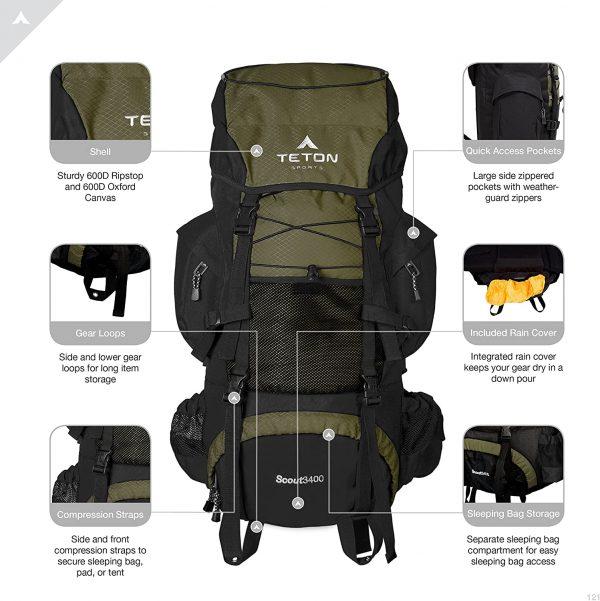 B000F34ZKS - TETON Sports Scout 3400 Internal Frame Backpack