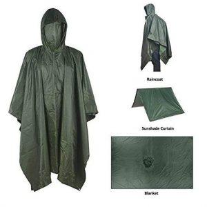 B06XBXSLXK - Rain Poncho Jacket Coat Hooded for Adults with Pockets