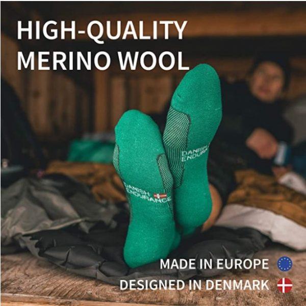 B07D8W97DX - DANISH ENDURANCE Merino Wool Light Hiking Socks 3-Pack